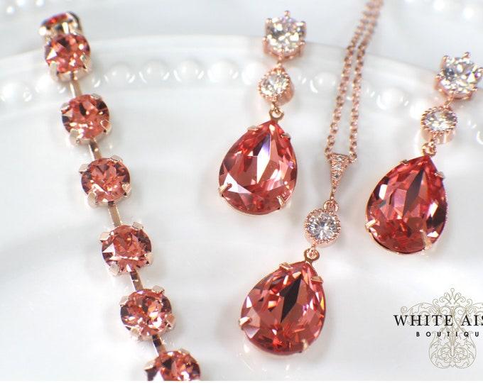 Custom Rose Gold Bridal Pendant Earrings Bracelet Set Vintage Style Rose Peach Sworovski Crystal Wedding Jewelry Set
