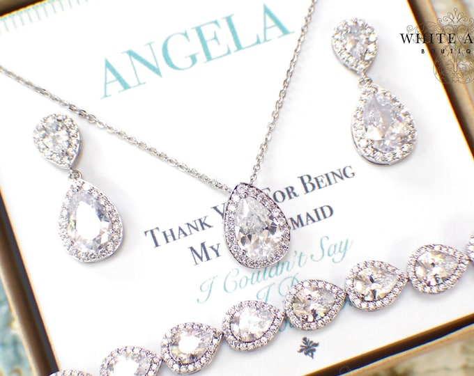 Silver Bridesmaid Jewelry Set | Bridesmaid Gifts | Personalized Gifts | Wedding Jewelry Sets | Wedding Party Gifts
