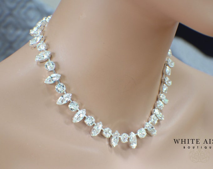 Swarovski Crystal Bridal Necklace Vintage Style Wedding Necklace Special Occasion Jewelry