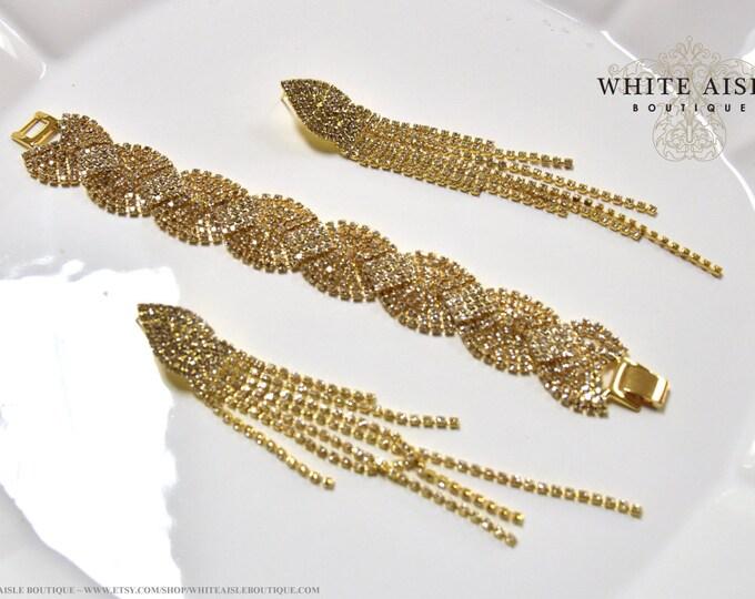 Gold Art Deco Style Bridal Earrings Bracelet Set Wedding Jewelry Set Long Vintage Inspired Crystal Dangle Earrings Bracelet Set