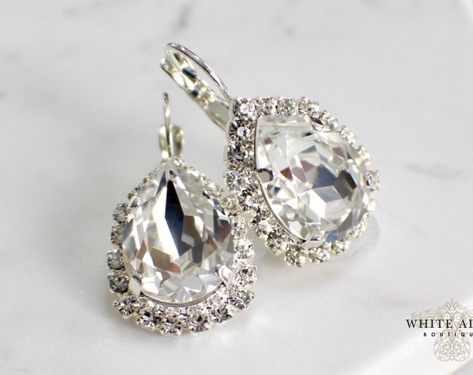 Swarovski Crystal Bridal Earrings Crystal Lever Back Earrings Vintage Style Crystal Wedding Earrings