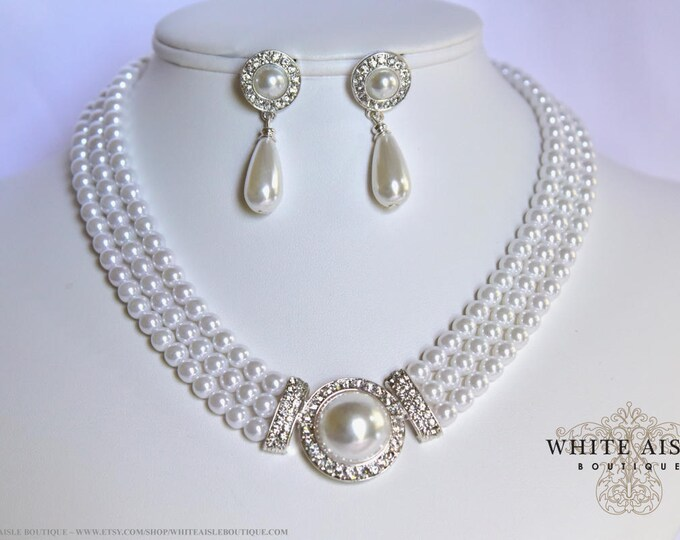 White Pearl Bridal Jewelry Set Crystal 3 Strand Wedding Necklace Earrings Vintage Inspired Prom Evening Pageant Jewelry