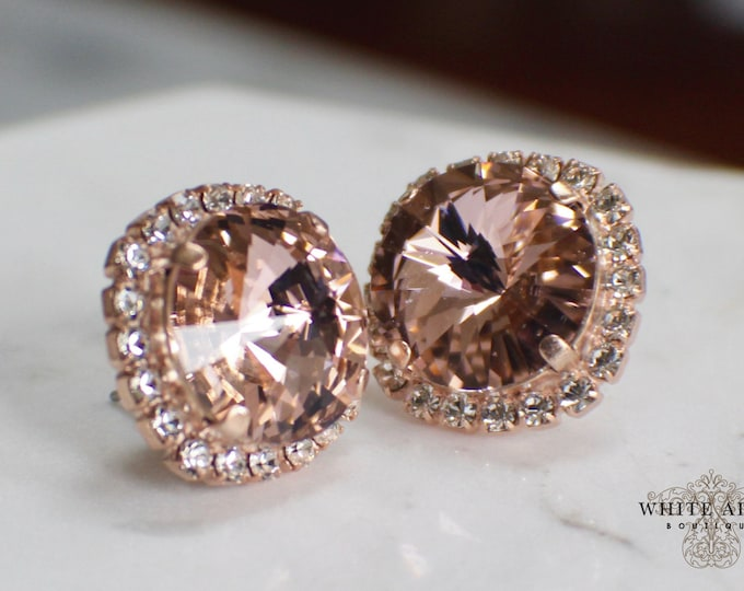 Blush Bridal Stud Earrings Swarovski Crystal Wedding Earrings Vintage Style Rose Gold Stud Earrings Bridesmaid Gift Special Occasion Jewelry