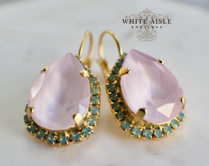 Soft Pink Bridal Earrings Vintage Style Swarovski Crystal Gold Wedding Statement Earrings Special Occasion Jewelry Bridal Jewelry