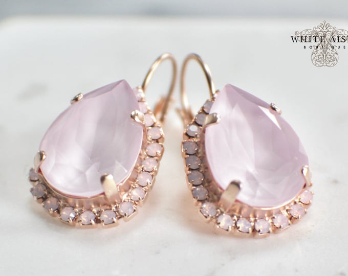 Soft Pink Bridal Earrings Vintage Style Swarovski Crystal Rose Gold Wedding Statement Earrings Special Occasion Jewelry Bridal Jewelry