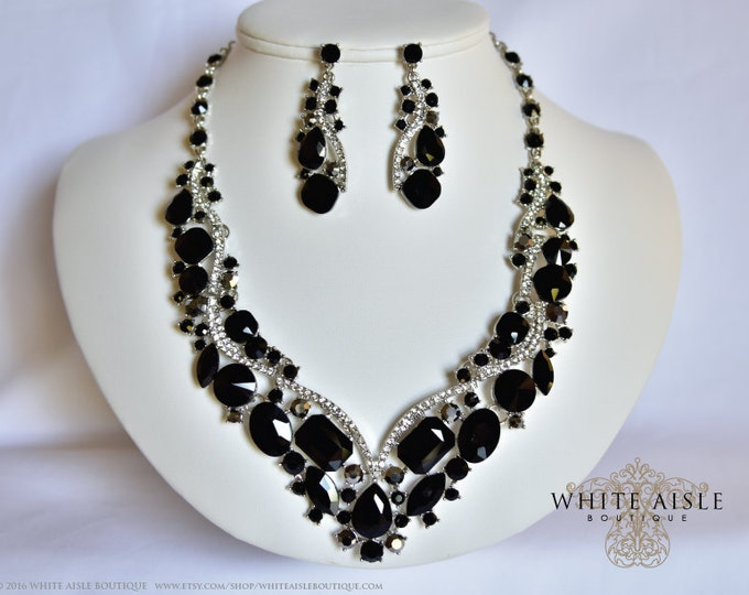 Black Wedding Jewelry Set, Crystal Bridal Statement Necklace Earrings, Bridal Earrings, Vintage Style