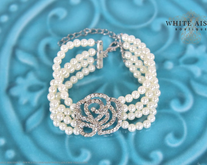 Ivory Pearl Brida Bracelet Vintage Style Crystal Rose Multi Strand Wedding Bracelet Bridesmaids Bridal Party Gifts Special Occasion Jewelry