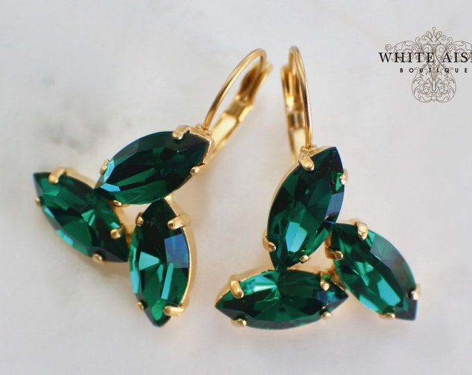 Emerald Green Bridal Earrings Vintage Style Swarovski Crystal Lever  Back Wedding Statement Dangle Earrings Special Occasion Jewelry
