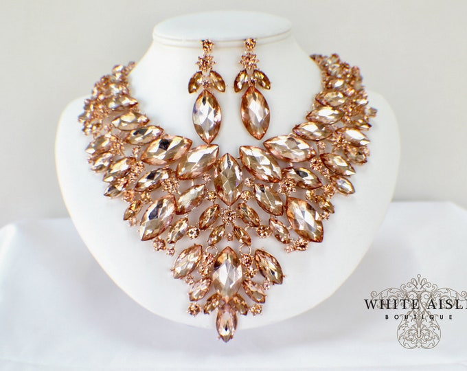 Blush Rose Gold Bridal Jewelry Set Wedding Statement Necklace Earrings Vintage Style Crystal Bib Necklace Earrings Special Occasion Jewelry
