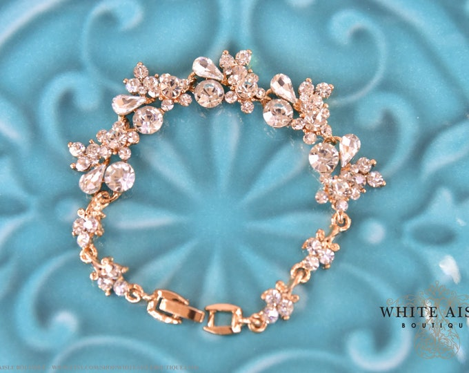 Gold Crystal Bridal Bracelet Vintage Style Wedding Rhinestone Bracelet Bridesmaids Bridal Party Gifts Special Occasion Jewelry