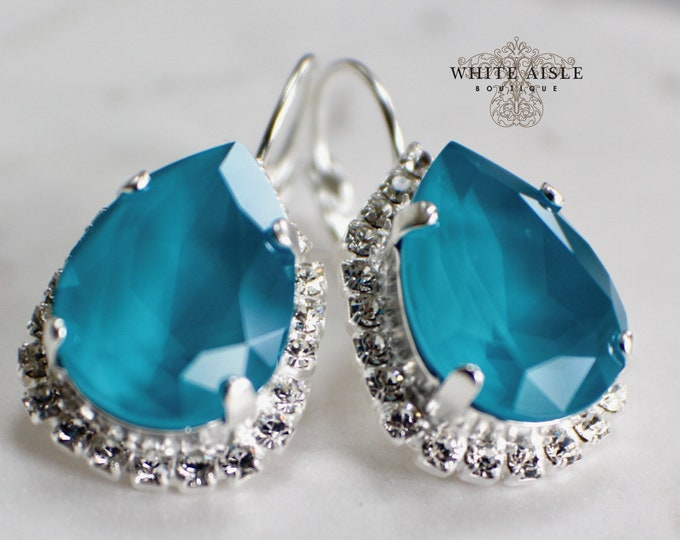 Turquoise Bridal Earrings Vintage Style Swarovski Crystal Wedding Earrings Lever Back Earrings Bridesmaids Gift Special Occasion Jewelry