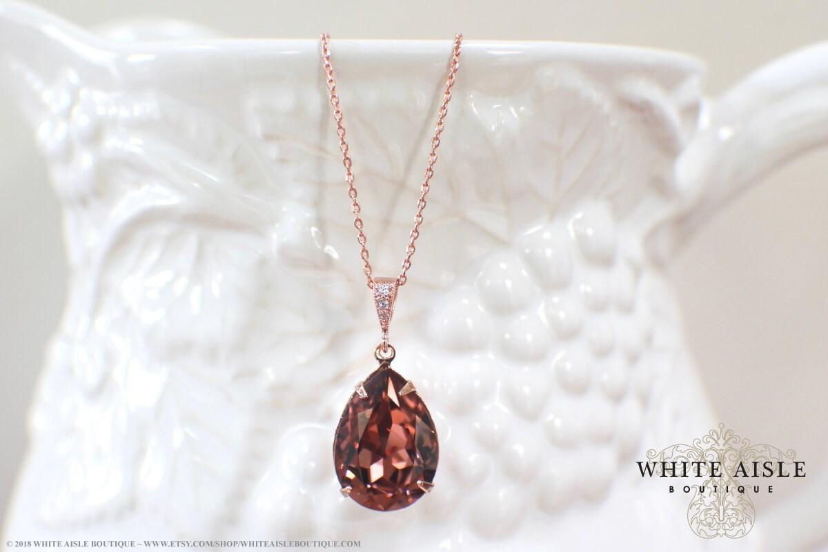 2ecd3a340 Custom Blush Rose Bridal Jewelry Set Rose Gold Swarovski Crystal  Bridesmaids Jewelry Vintage Style Tear Drop Pendant Earrings Bracelet Set