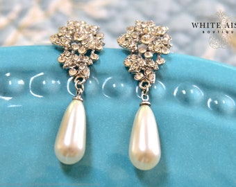 Ivory Pearl Drop Bridal Earrings Victorian Wedding Statement Dangle Earrings Special Occasion Jewelry Bridesmaids  Bridal Party Gifts