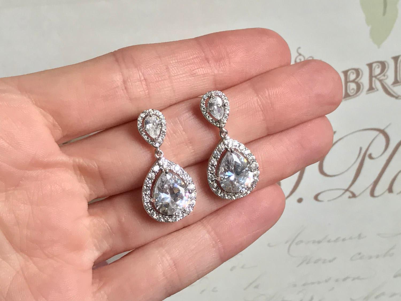 Bridal Earrings Wedding Jewelry Faceted Cubic Zirconia Tear Drop ...