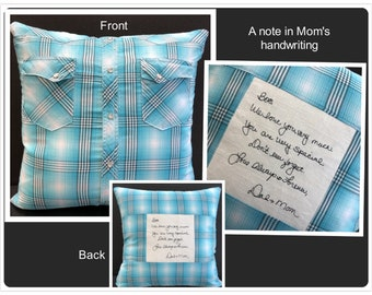 Embroidered Memory Pillow, Shirt Pillow, Sympathy Gift, Handwriting Pillow, Remembrance Gift, In Memory of Dad, In Memory of Mom, Keepsake