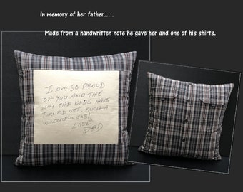 Embroidered Memory Pillow, Shirt Pillow,Sympathy Gift, Embroidered Handwriting Pillow, In Memory of Dad, In Memory of Mom, Remembrance Gifts