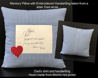 Embroidered Memory Pillow, Shirt Pillow, Handwriting Pillow, Sympathy Gift,Remembrance Gift, In Memory of Dad, In Memory of Mom, Keepsake