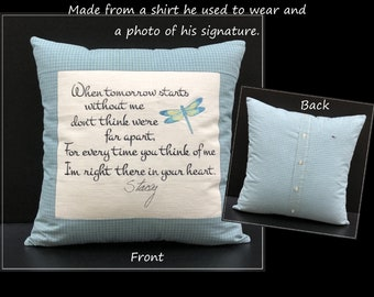 Embroidered Memory Pillow, Shirt Pillow, Sympathy Gift, Handwriting Pillow, In Memory of Dad, In Memory of Mom, Remembrance Gift,