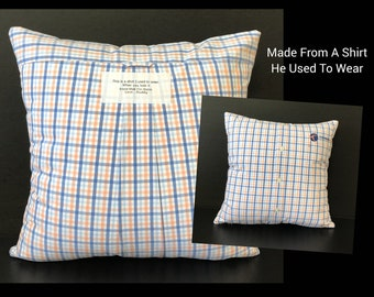 Memory Shirt Pillow, Shirt Pillow Keepsake, Memorial Gift, Remembrance Gifts, Loss of Mother, Loss of Father, Loss of Loved One, Sympathy