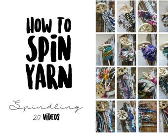 20 HD Videos for Spindling Creative Textured Yarns on a Drop Spindle. SPINDLING masterclass by How to Spin Yarn.