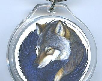 Wolf Raven Crow Key Chain