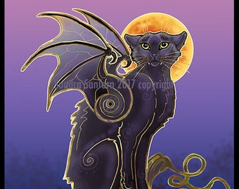 Winged Black Cat Chat Noir Print