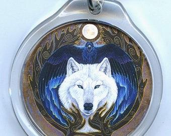 Norse White Wolf Raven Key Chain