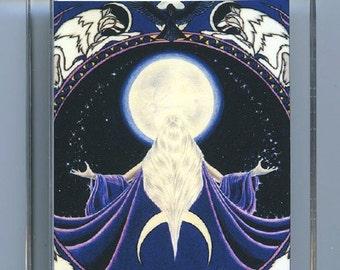 Wolf Moon Goddess Green Man Key Chain