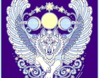 Angel Winged White Wolf Tee