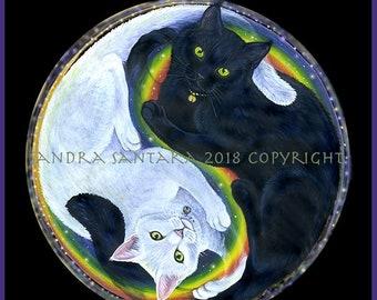 Black Cat White Cat Yin Yang Print