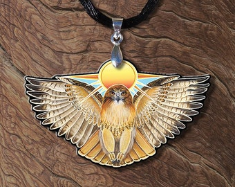 Sun Red Tailed Hawk Wooden Printed Pendant