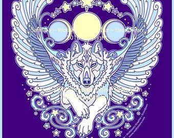 Angel Winged White Wolf Decal Sticker