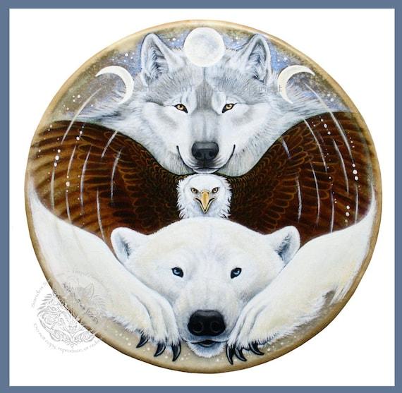 Arctic Wolf Bald Eagle Polar Bear Totem Print Etsy