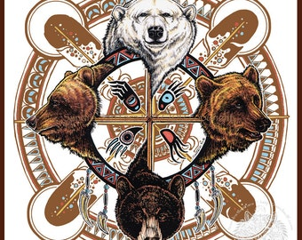 Bear Totem Spirit Shield Indigenous Print