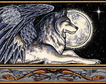 Winged Wolf Guardian Print