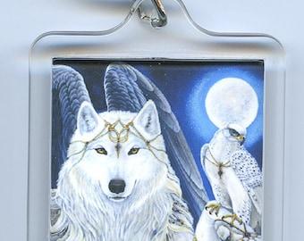 Angel White Wolf Falcon Black Wolf Raven Key Chain