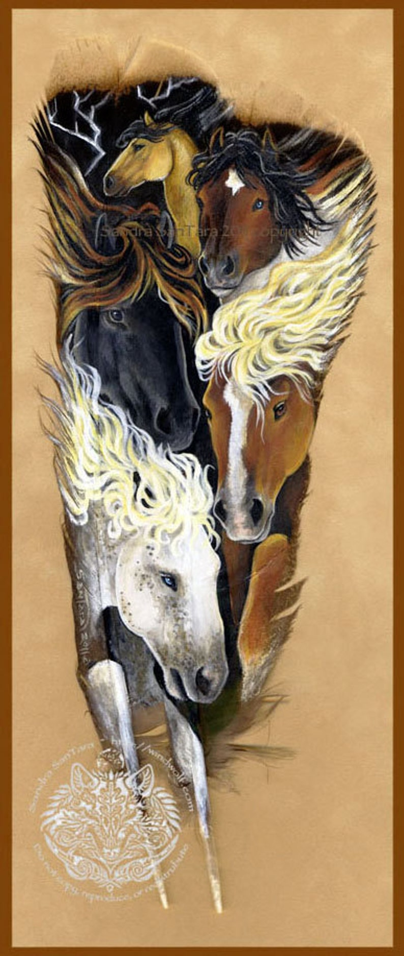 Mustang Thunder Western Indigenous Painted Feather Print image 0