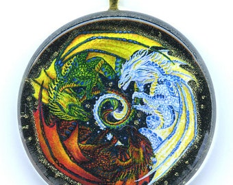 Green Red and White Dragons Pendant