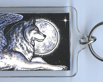 Winged  Wolf Key Chain