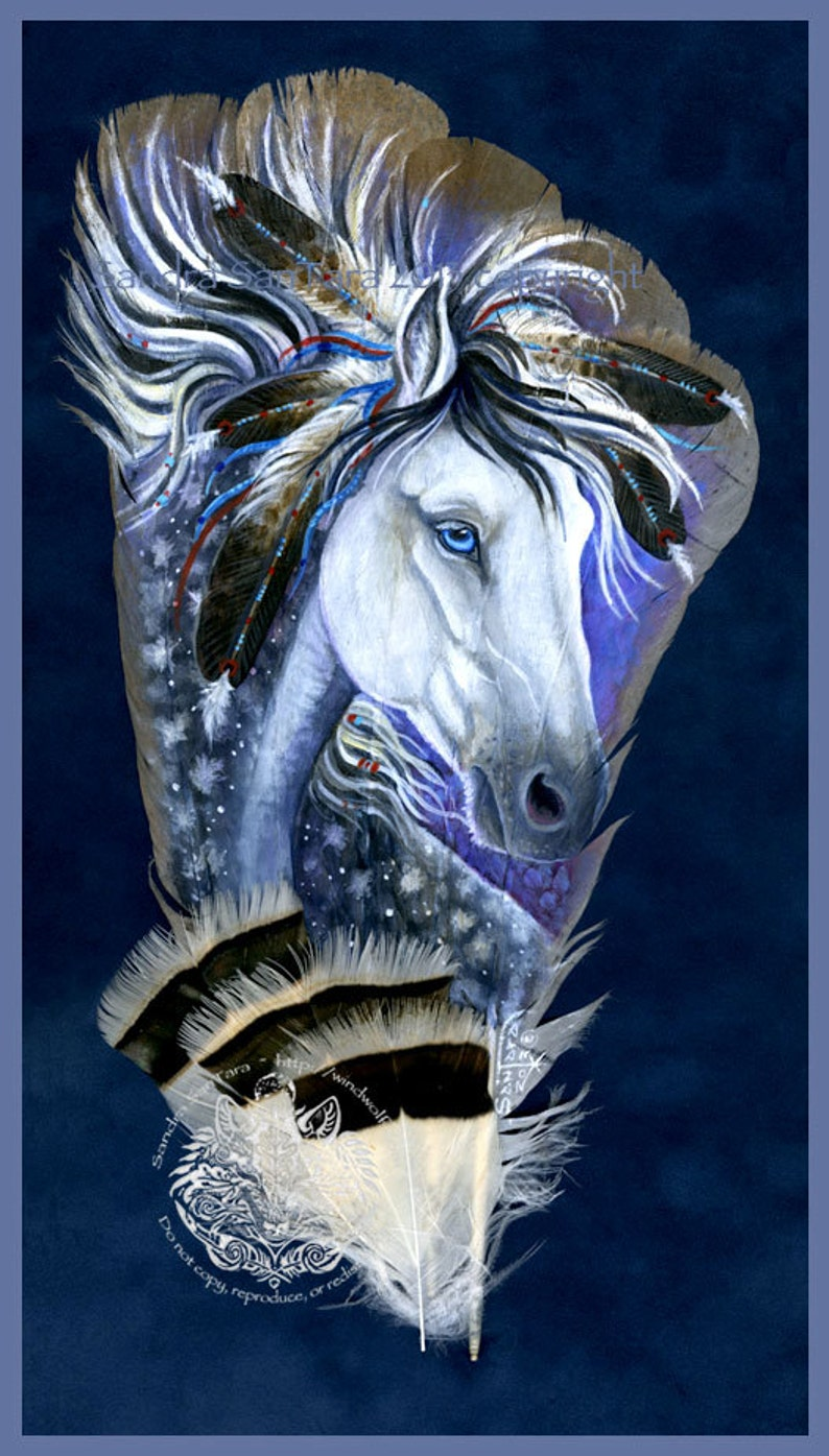 Indian Spirit Dapple Pony Horse Western Indigenous Art Painted image 0