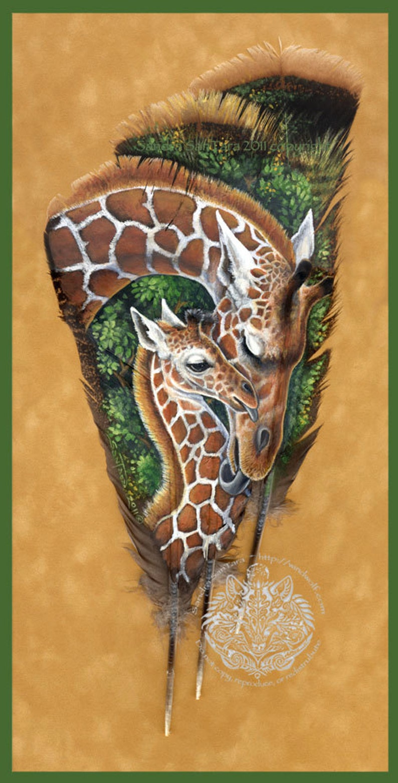 Giraffe Mother and Calf Wildlife Art Painted Feather Print image 0