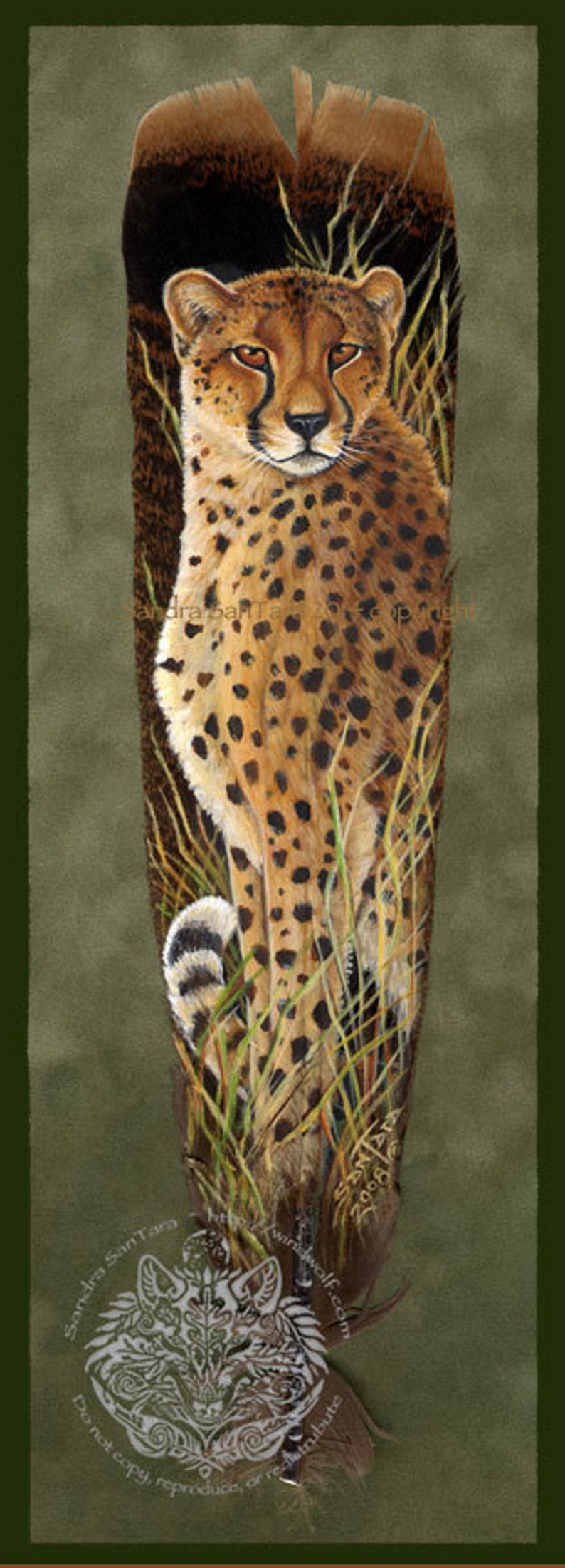 Cheetah big cat African Wildlife Art Painted Feather Print image 0