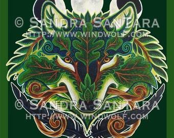 Green Forest Wolf Banner