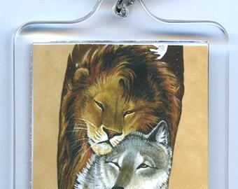 Lion Wolf Couple Key Chain