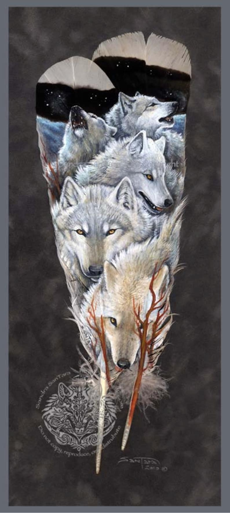 Arctic Wolf Pack Wildlife Art Painted Feather Print image 0