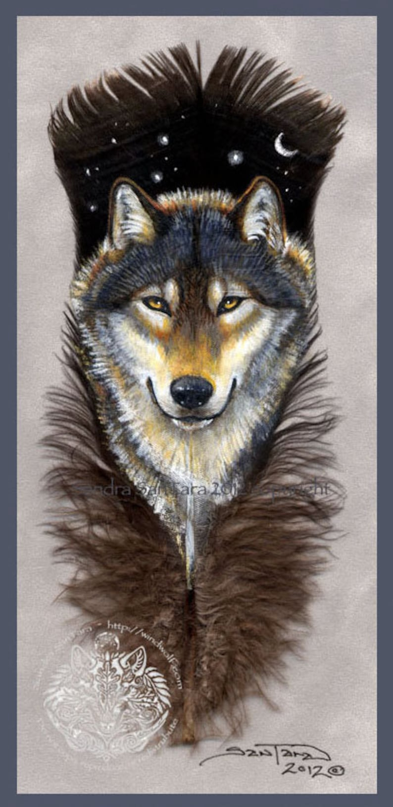 Wolf Guardian Wildlife Art Painted Feather Print image 0