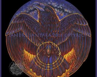 Raven Fire Phoenix Print