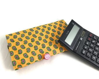 Yellow paisley checkbook cover or wallet with handmade button closure