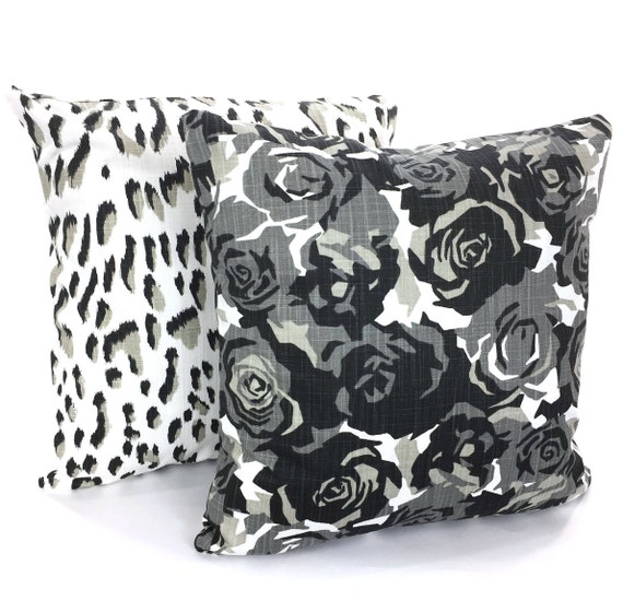 Strange Black Tan White Pillow Covers Decorative Throw Pillows Cushions Roses Animal Print Throw Cushions Couch Bed Pillows Set Of Two Various Sizes Pabps2019 Chair Design Images Pabps2019Com