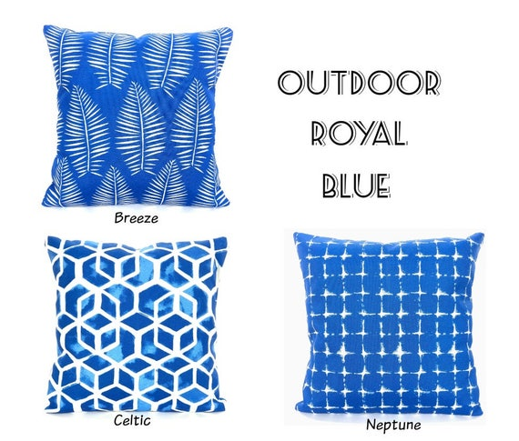 Outdoor Blue Throw Pillow Covers Decorative Cushions Royal Etsy